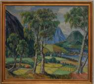 Christiane Olberg. Large valley landscape with village.