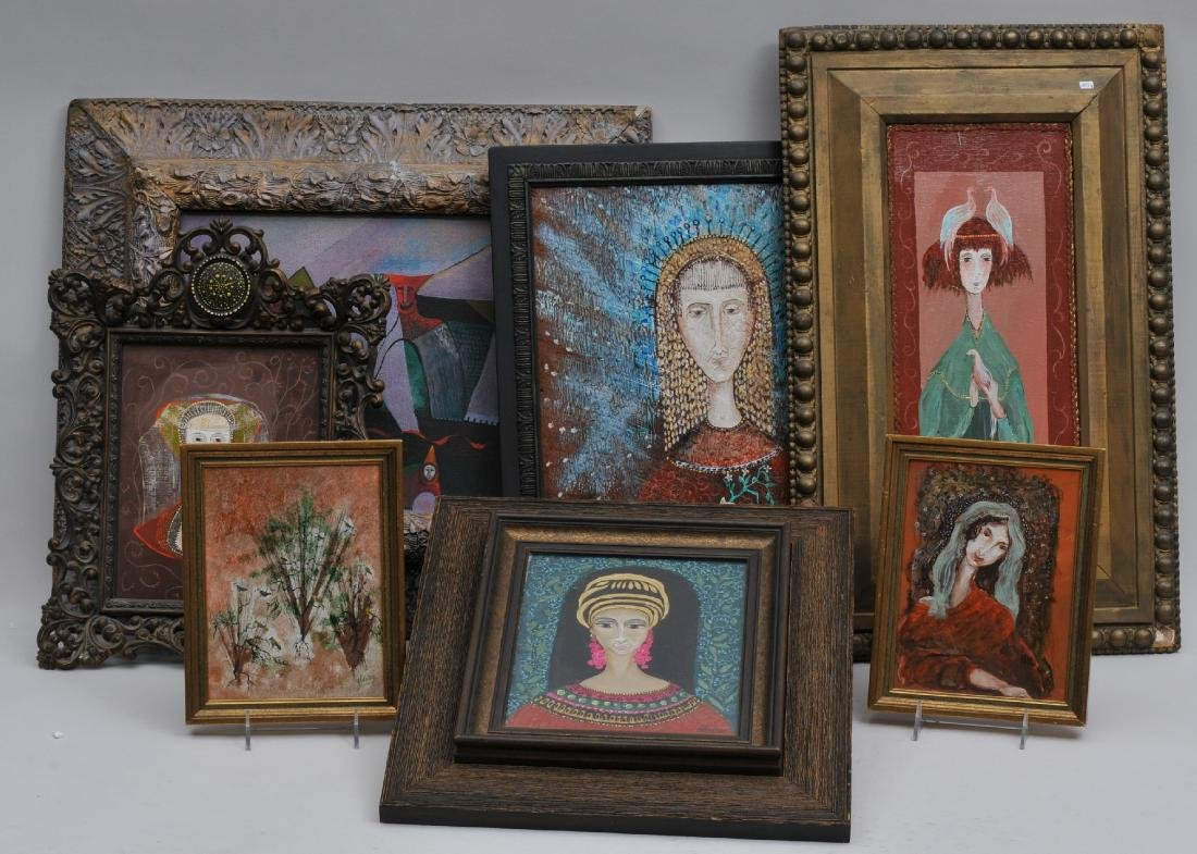 Robert Walker. Lot of seven paintings. Five scenes of