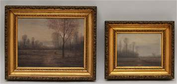 William Baylies Two Barbizon style landscapes with
