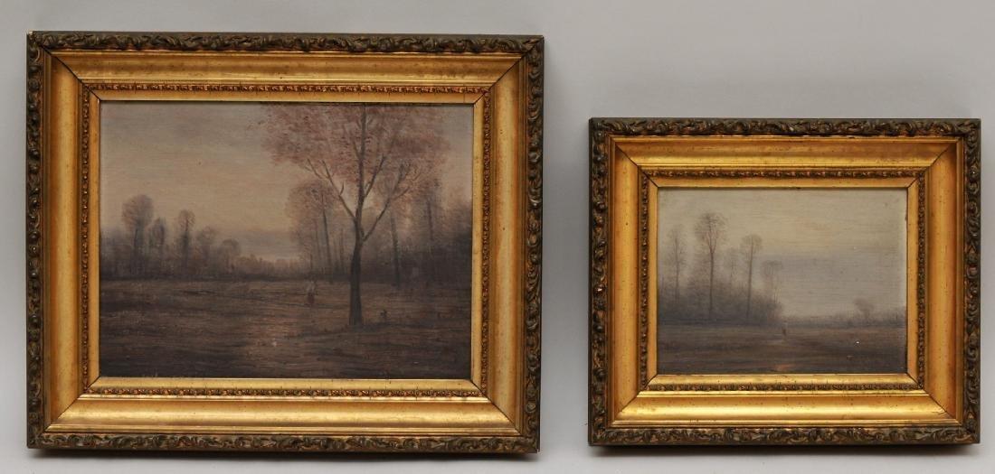 William Baylies. Two Barbizon style landscapes with