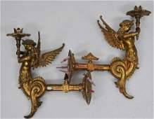 Pair of late 19th century gilt bronze original gas