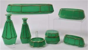 Early 20th century Art Deco Czechoslovakian green