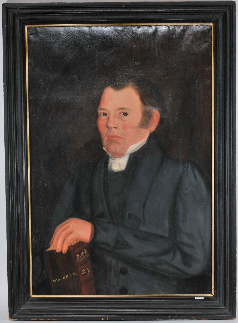 19th century American Folk Art portrait of a  Minister