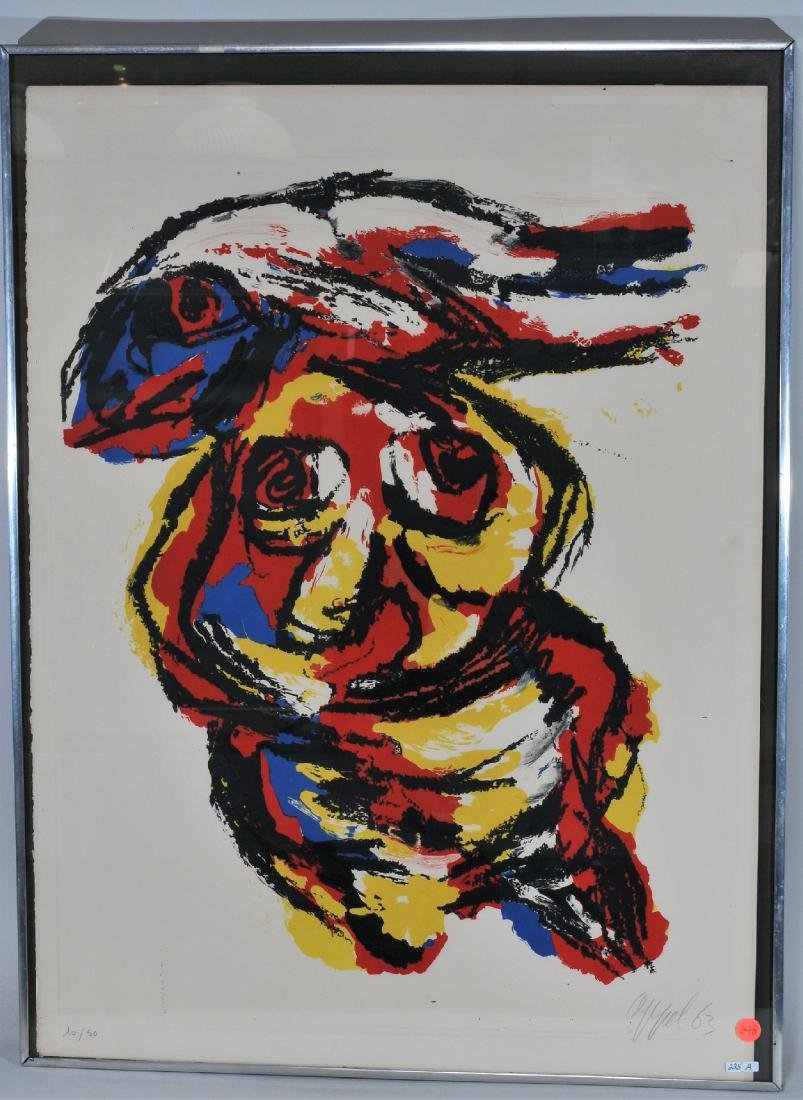 "Karel Appel. ""Tree"". Lithograph graphite, signed and"