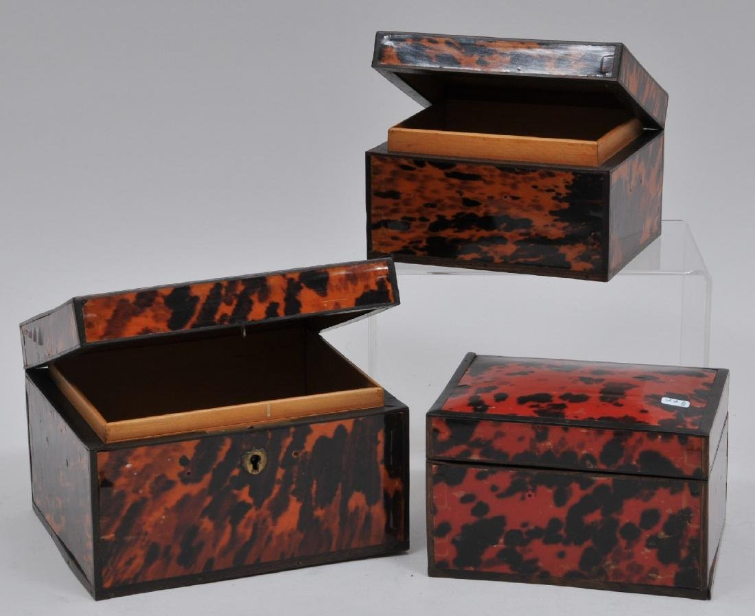 Lot of three antique Tortoise shell tea caddy boxes.