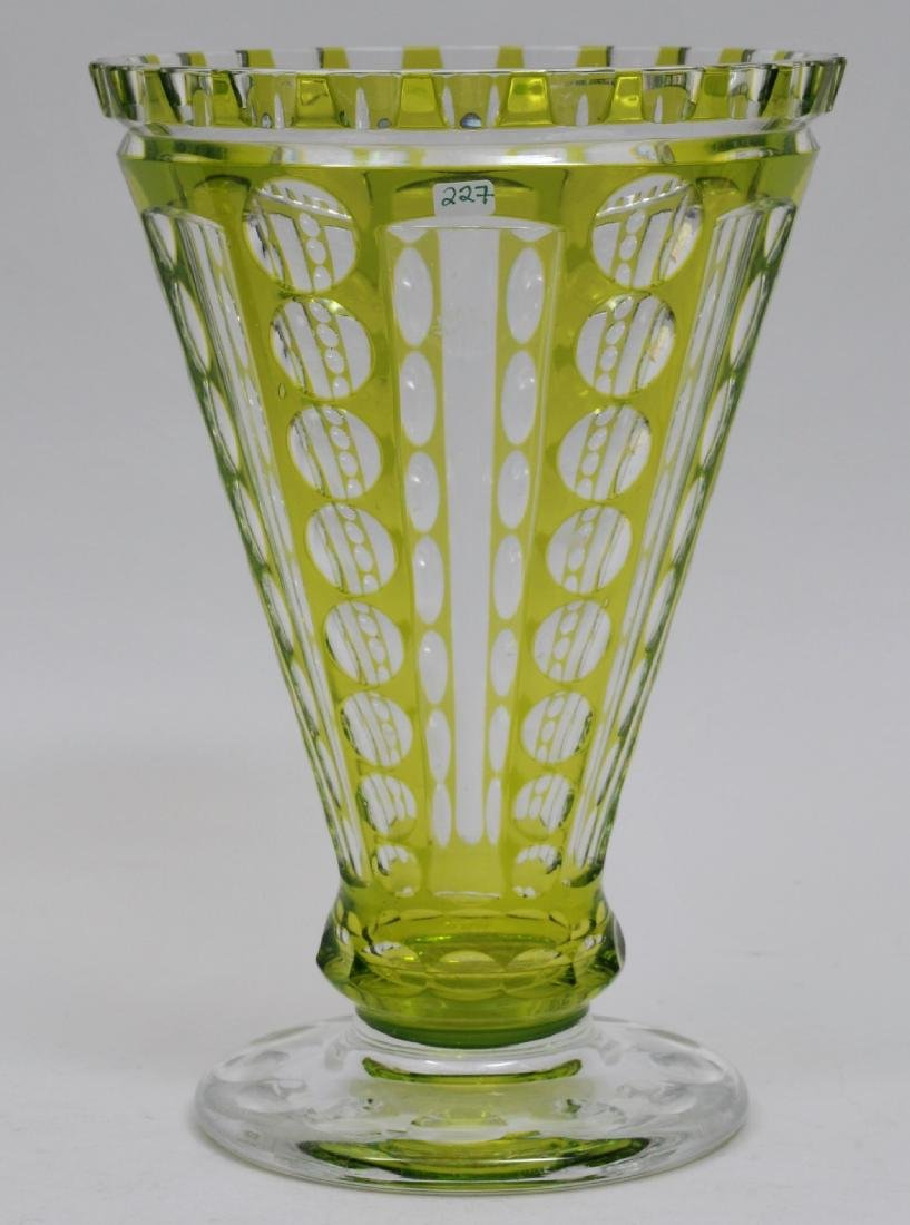 Early 20th century green cut to clear cut glass vases