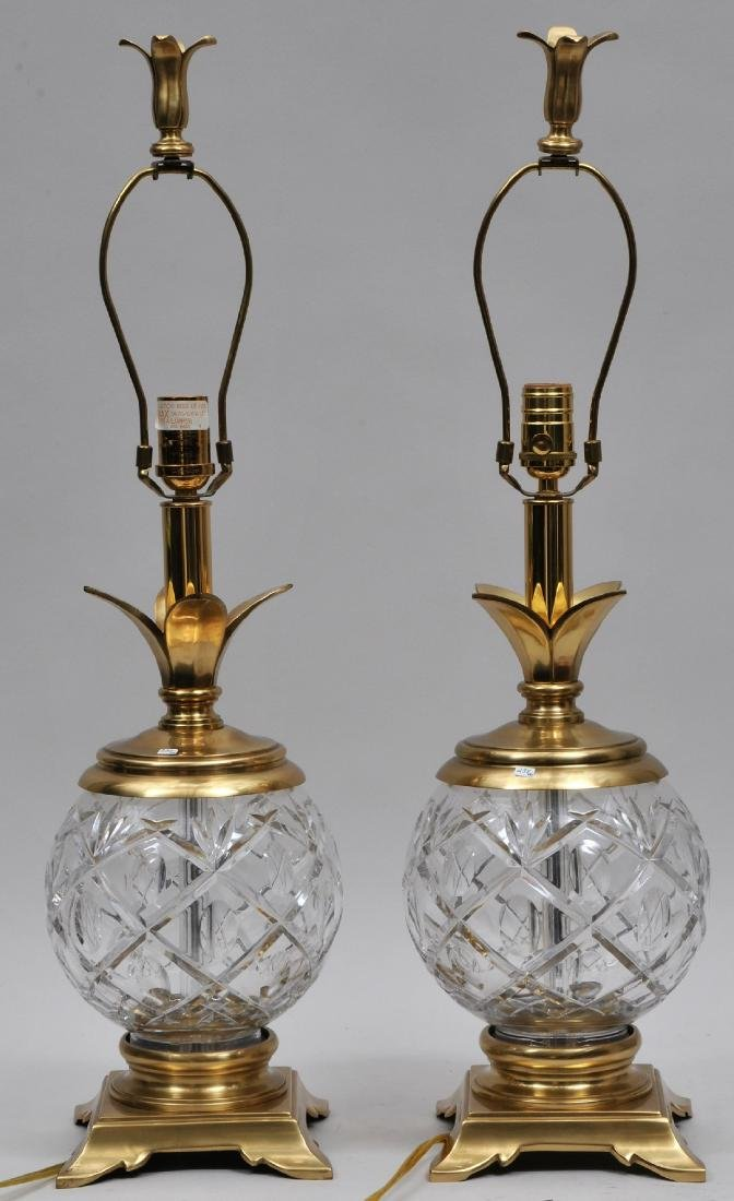 Pair of Waterford cut glass lamps with gilt metal
