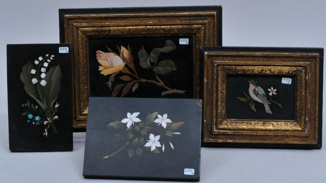 Lot of four Italian 19th/20th century Pietra Dura