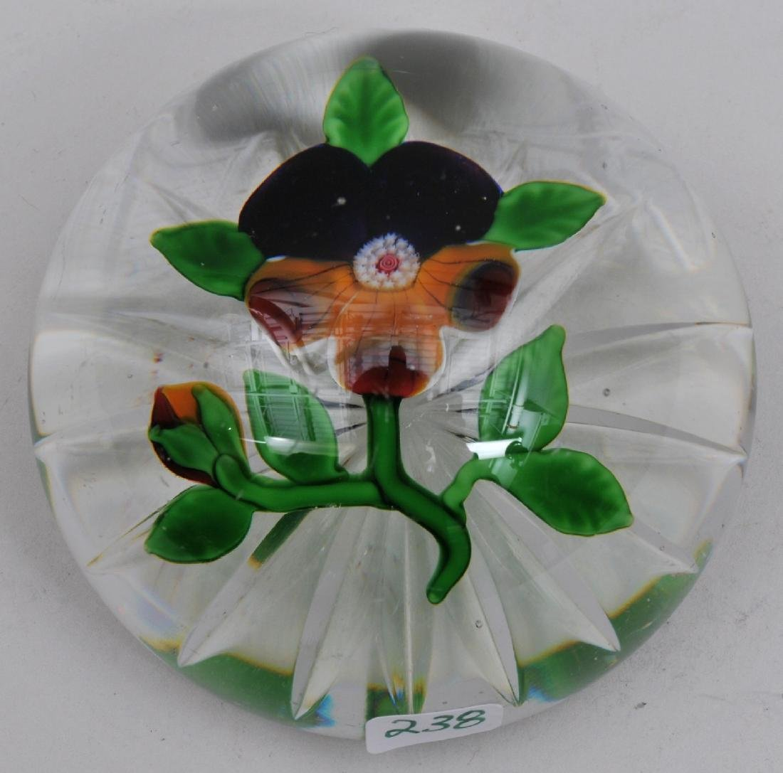 Antique fine quality clear glass pansy paperweight with