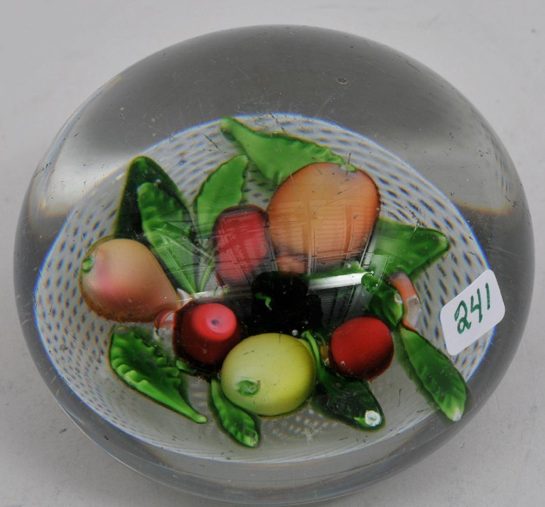 Antique fine quality clear glass paperweight with fruit