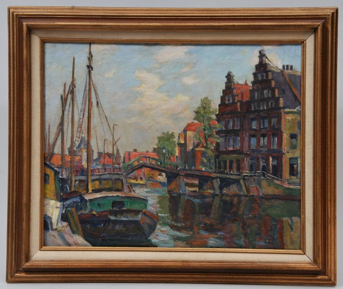 Waldemar Sewohl. City canal scene with boats and