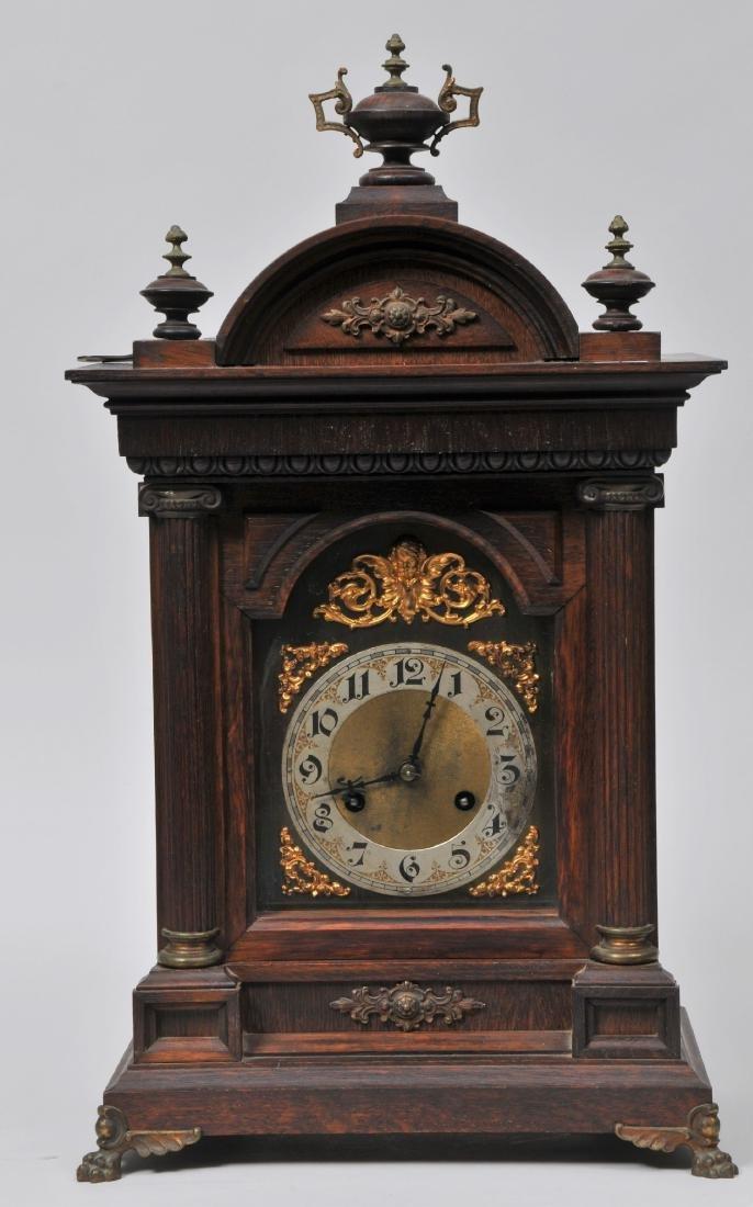 19th/20th century fine quality carved oak shelf clock.