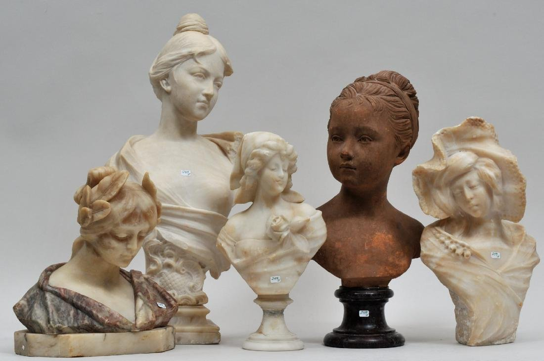 Lot of five antique carved Alabaster and Terracotta
