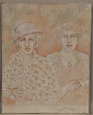 "Ann Chernow. ""2 Women in Paris"". Large Oil on Canvas."
