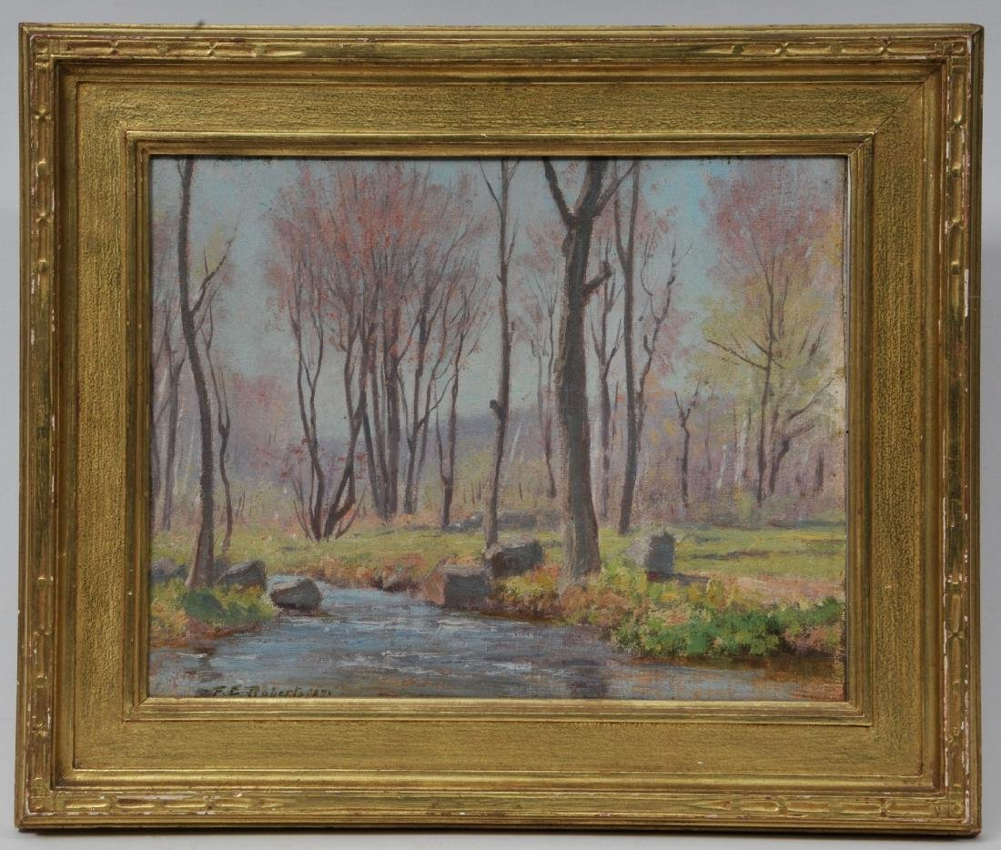 "Dr. F.E. Roberts. ""Brook in Spring"" landscape painting."