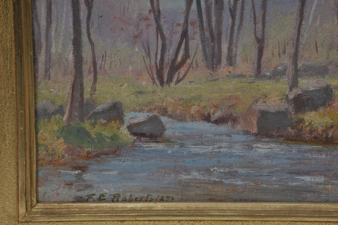 "Dr. F.E. Roberts. ""Brook in Spring"" landscape painting. - 6"