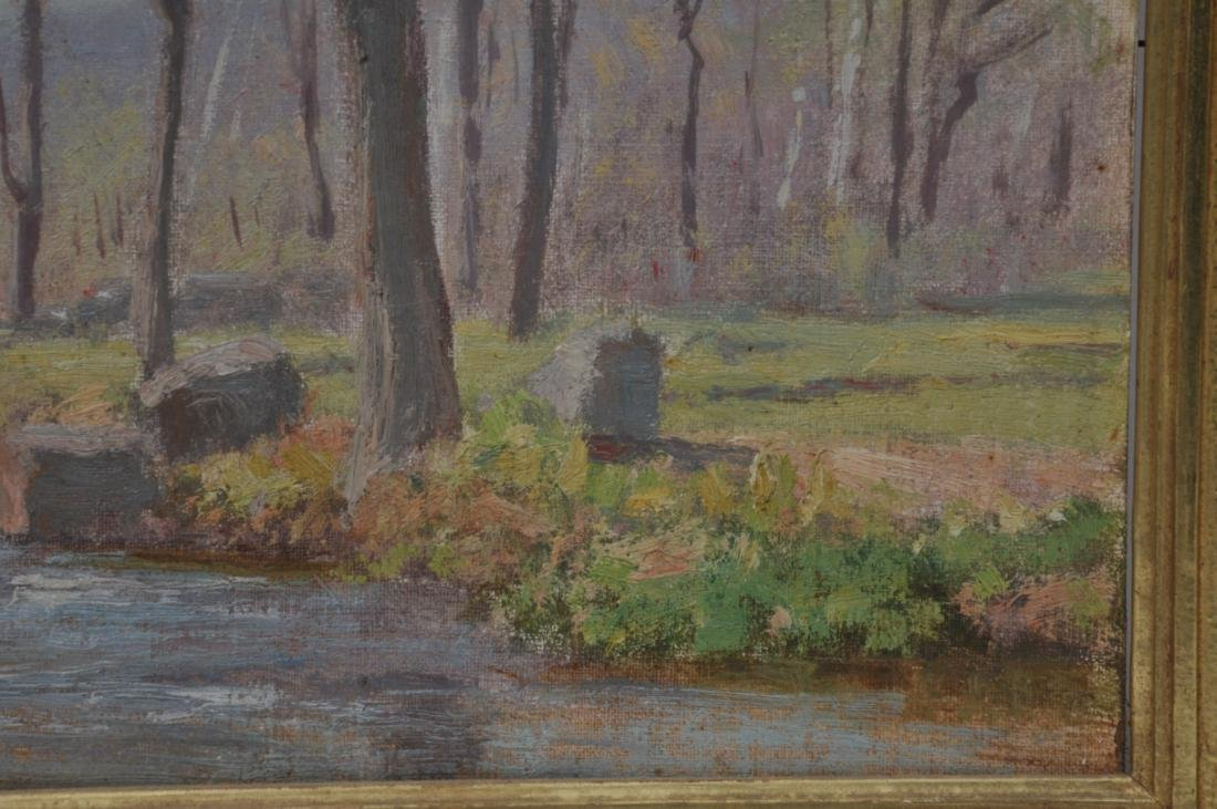 "Dr. F.E. Roberts. ""Brook in Spring"" landscape painting. - 7"