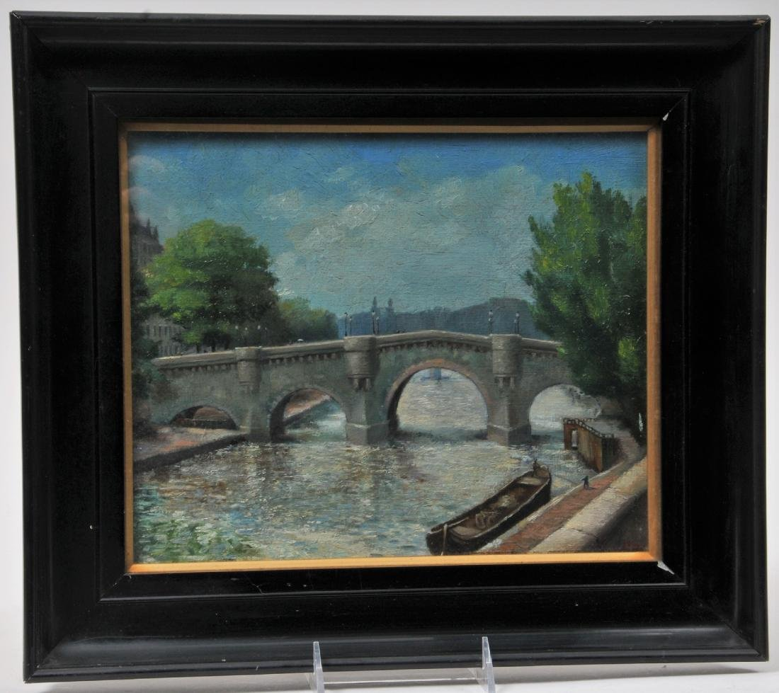 "Early 20th century ""Port Neuf Paris"" river scene"