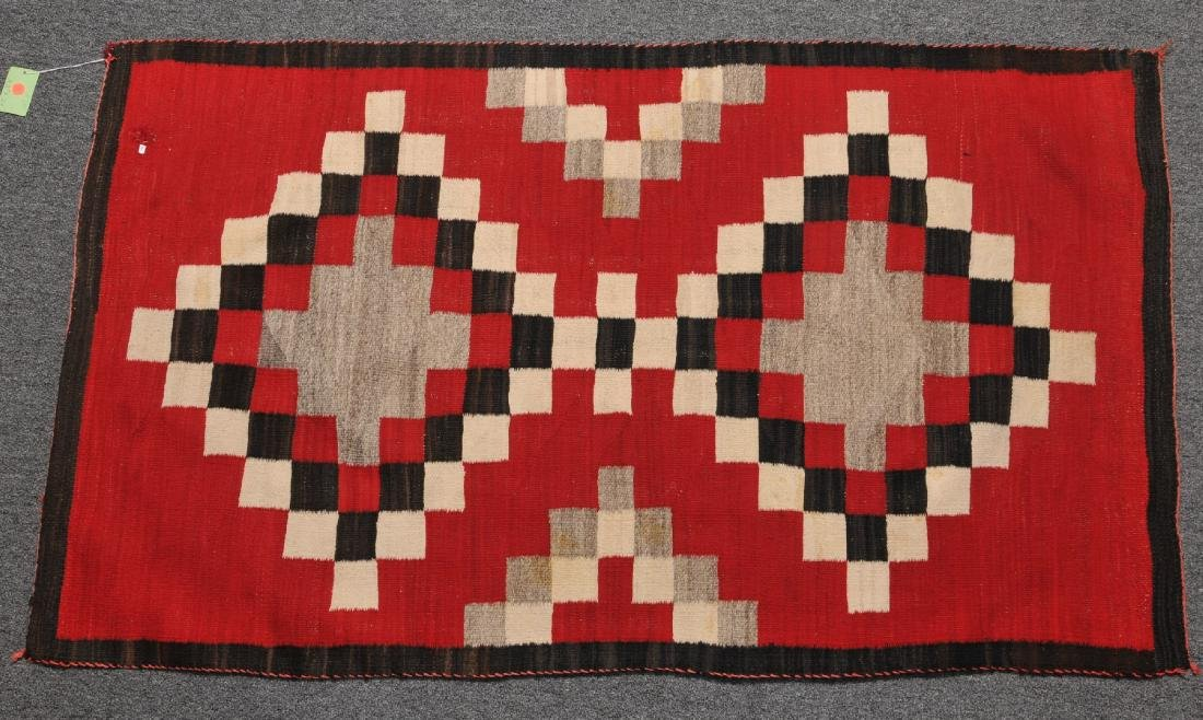 Antique Navajo red ground rug-blanket with white-gray