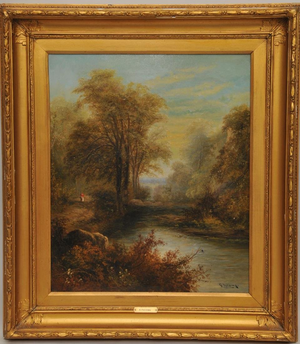 G. Fielding. Late 19th century river landscape with a