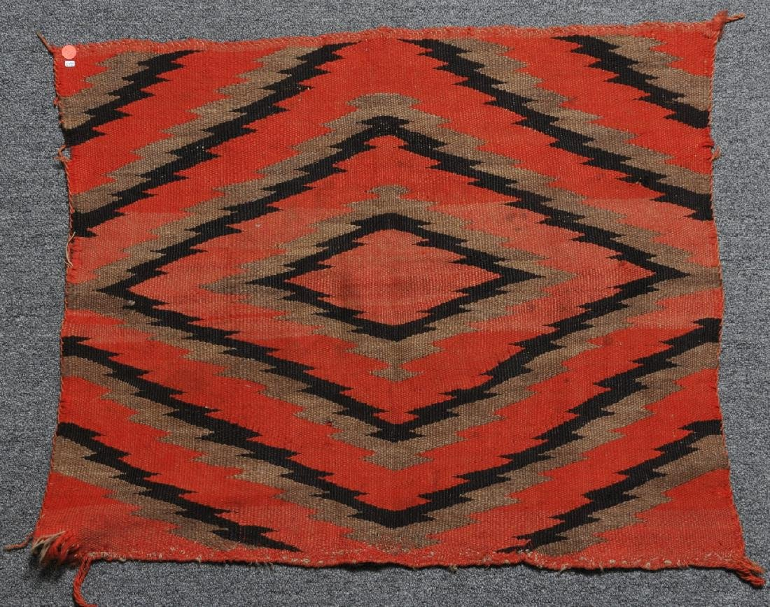 19th century Navajo Indian red ground saddle blanket
