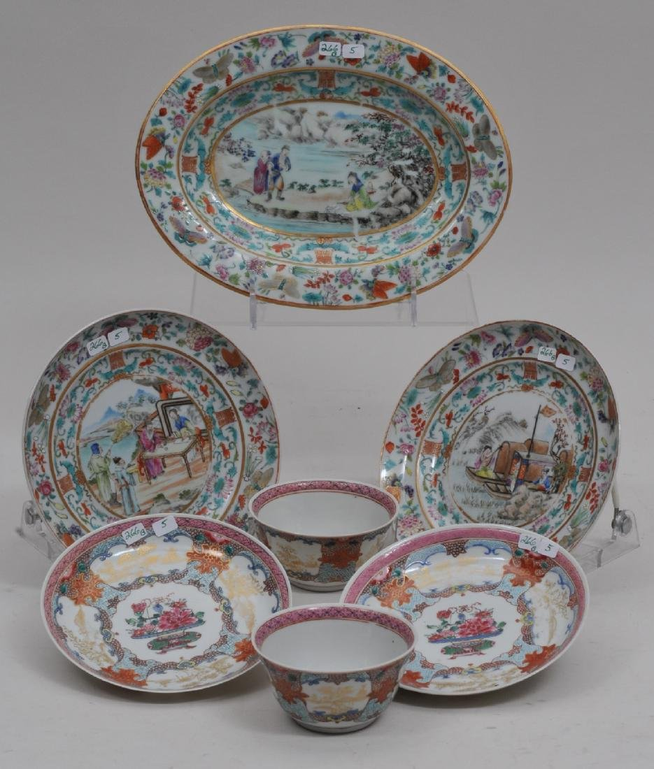 Lot of five Chinese Export porcelain pieces. (1) Pair