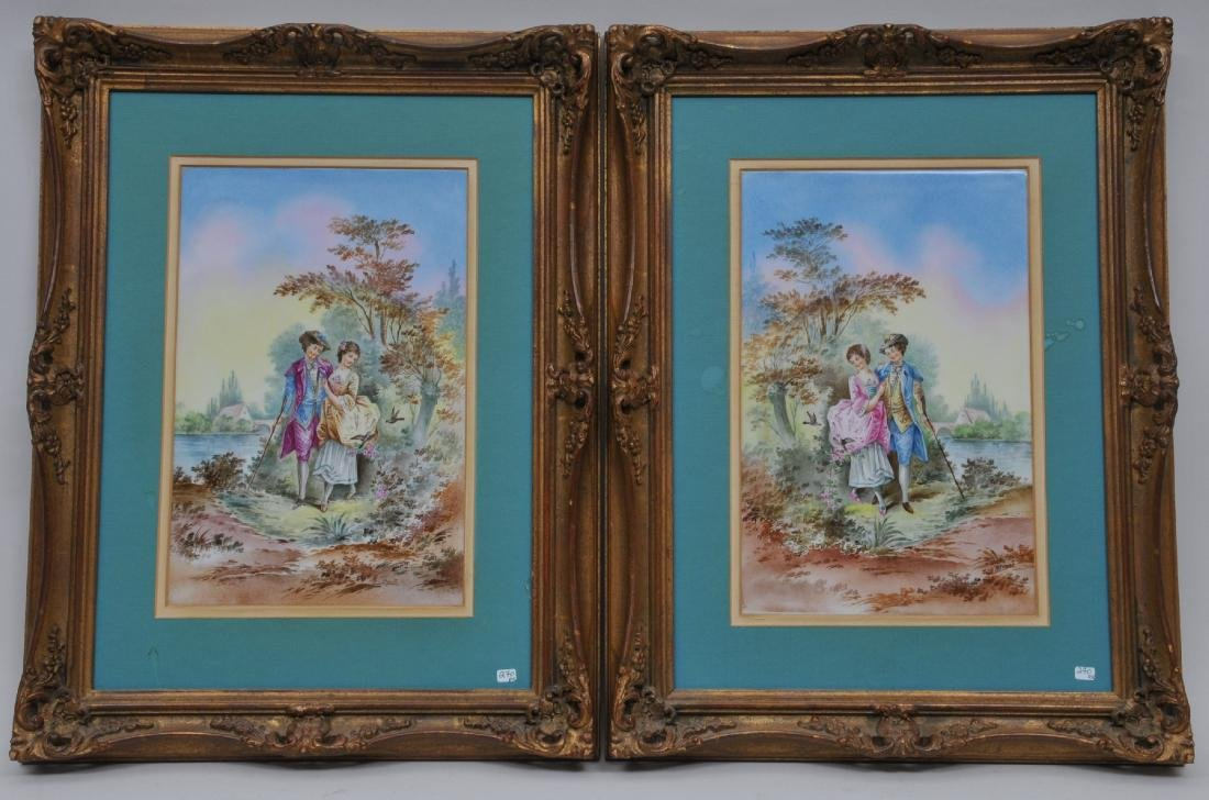 Pair of early 20th century hand painted scenic