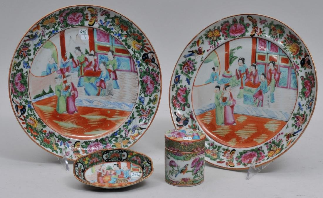 Lot of four 19th century Chinese Export porcelain Rose