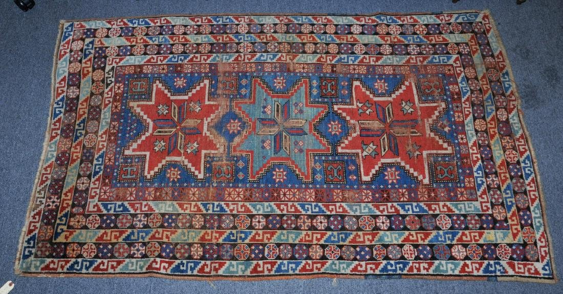 Antique star pattern Armenian scatter carpet with