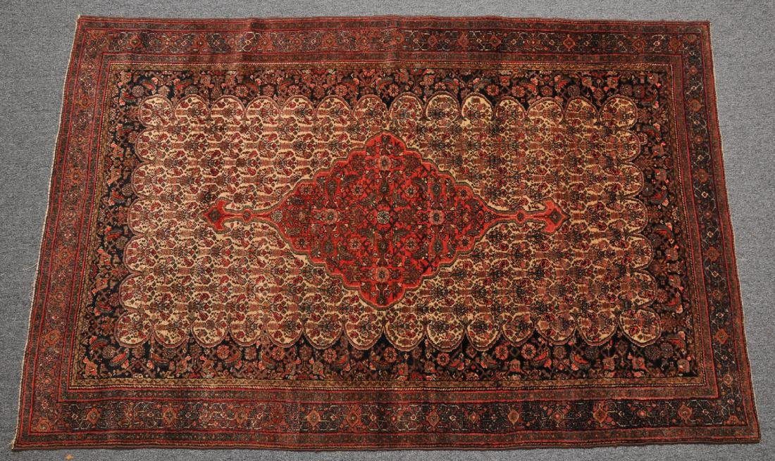 Antique Bibicabad scatter carpet with Ivory field and
