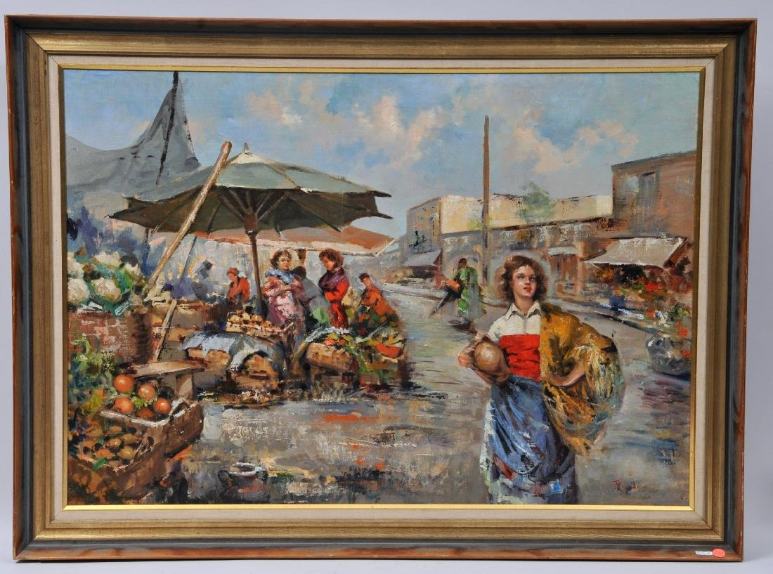 Franco Rispoli. Large Naples market scene. Oil on