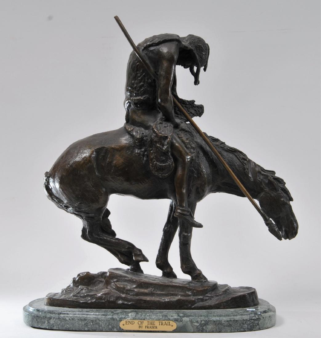 """J.E. Fraser. Bronze sculpture. """"End of Trail"""". Indian"""