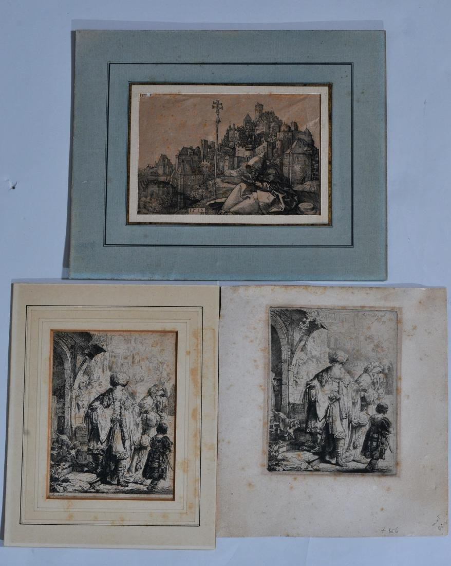 Lot of three Old Master etchings. Two Rembrandt Old