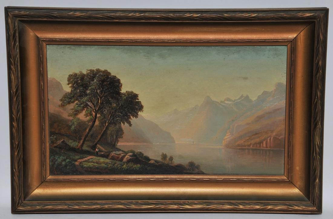 Charles B. Russ. Mountain landscape with lake. Oil on P