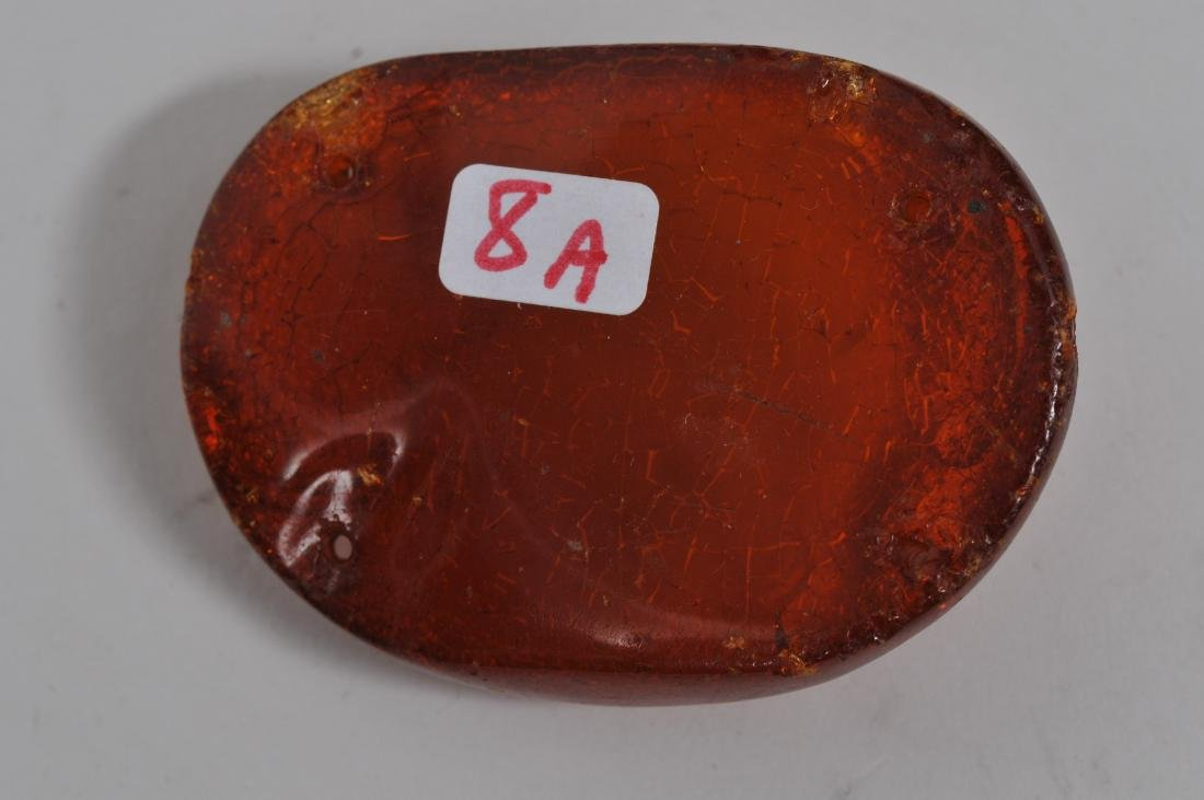 Hat button. China. 18th/19th century. Amber carved with - 5