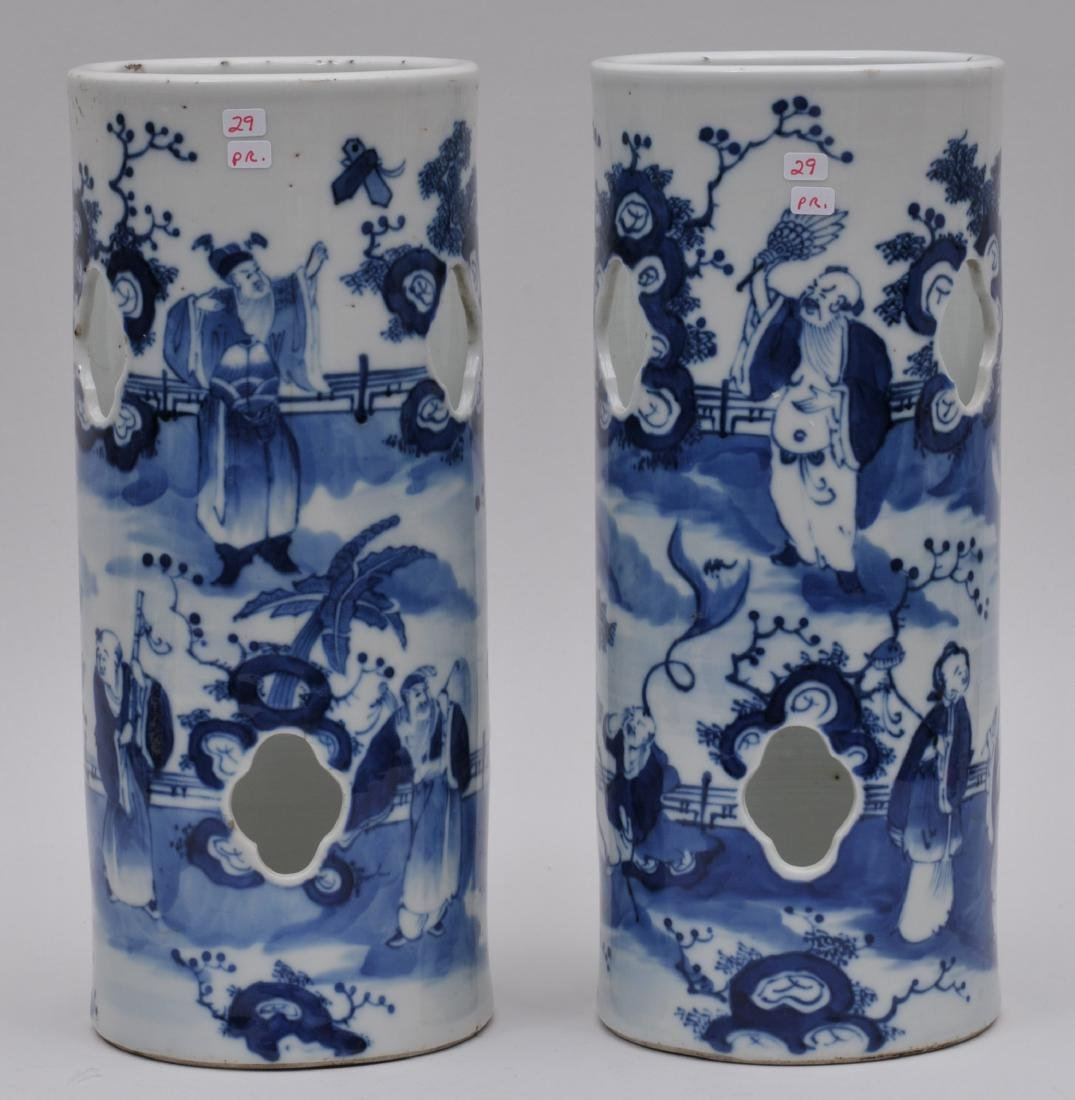 Pair of porcelain hat stands. China. 19th century.