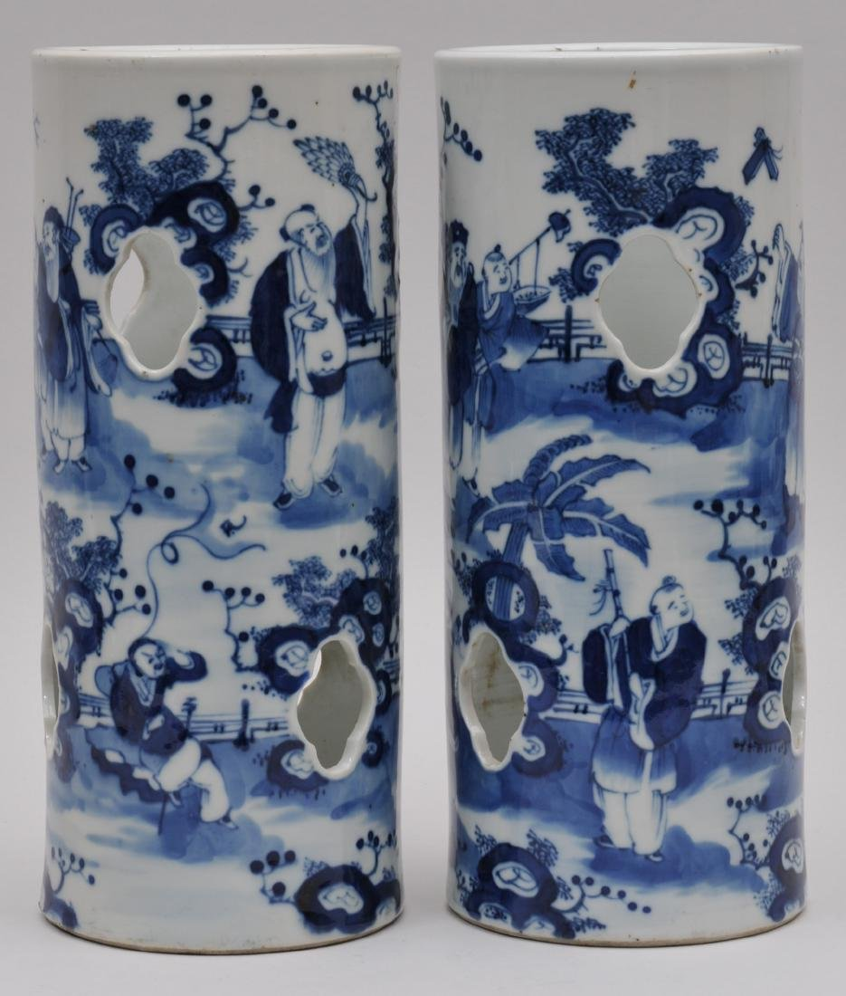 Pair of porcelain hat stands. China. 19th century. - 5