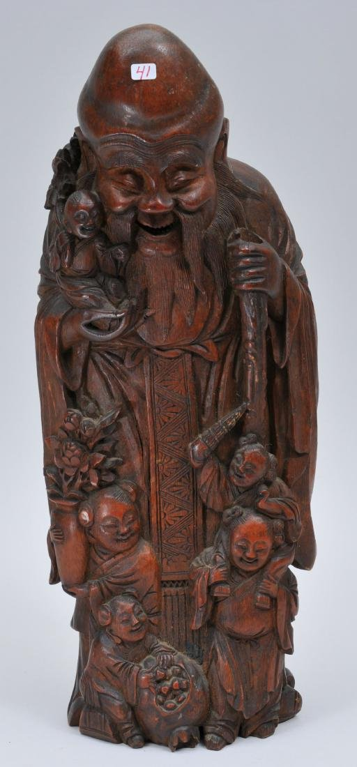Bamboo root carving. China. 19th century. Figure of