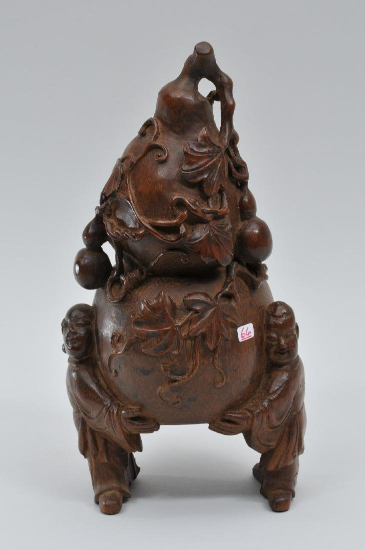Bamboo root carving. China. 19th century. Double gourds - 3