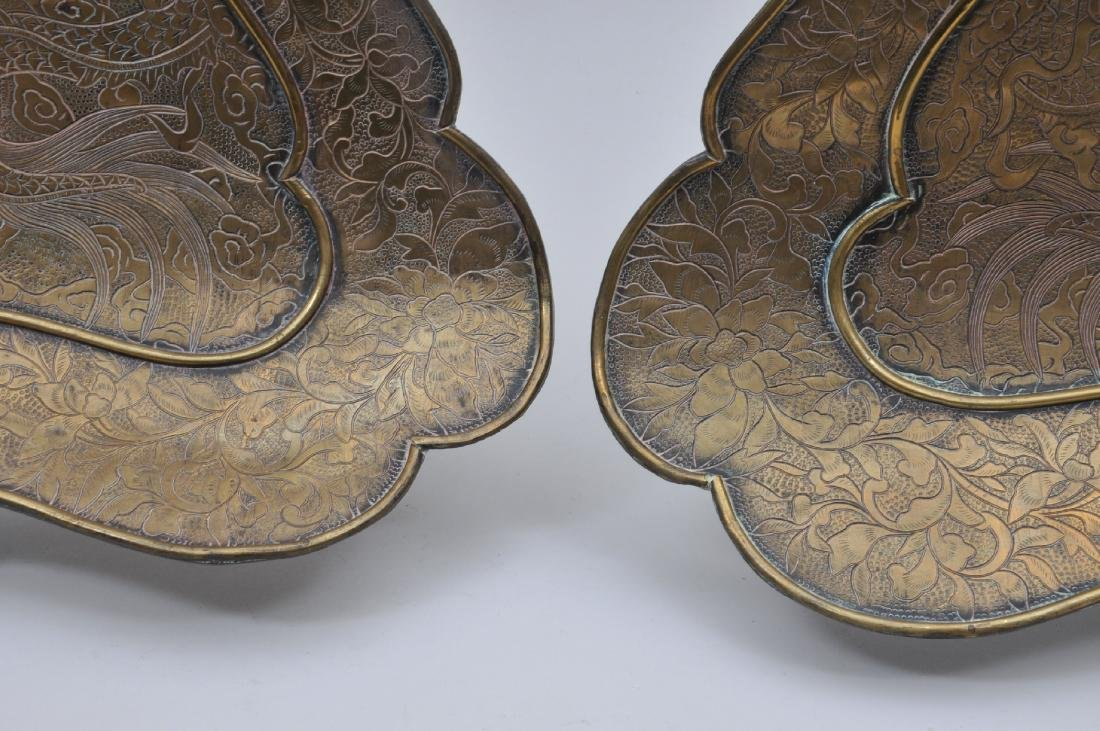Pair of brass fans. China. Dated 8 years of Kuang Hsu - 6