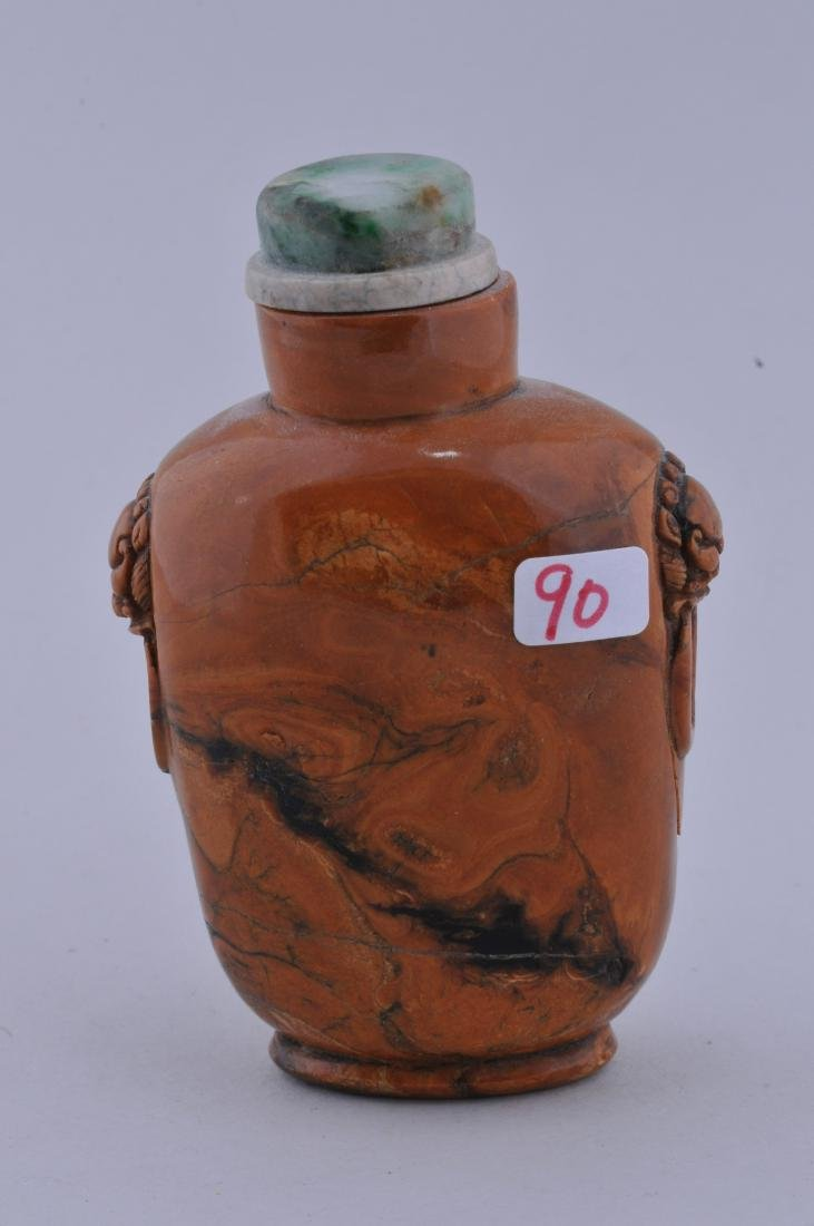 Root amber Snuff bottle. China. 19th century. Lion mask - 3