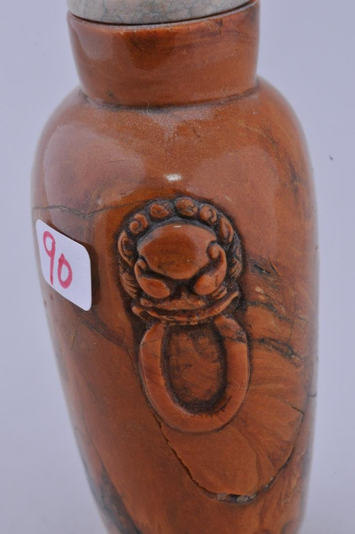 Root amber Snuff bottle. China. 19th century. Lion mask - 4