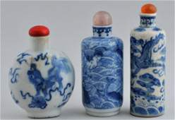 Lot of three Snuff bottles. China. 19th century. Two