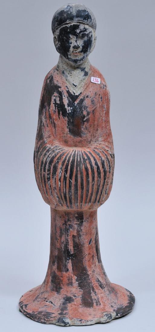 Terracotta tomb figure of a female servant. Han style.