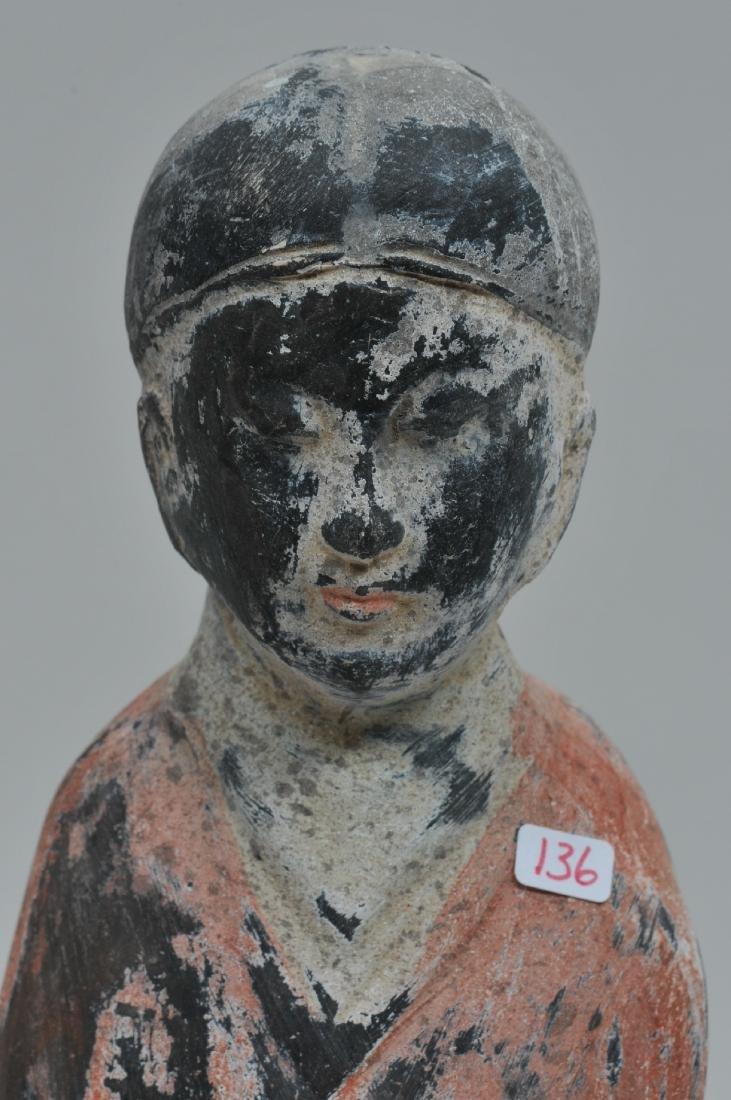 Terracotta tomb figure of a female servant. Han style. - 4