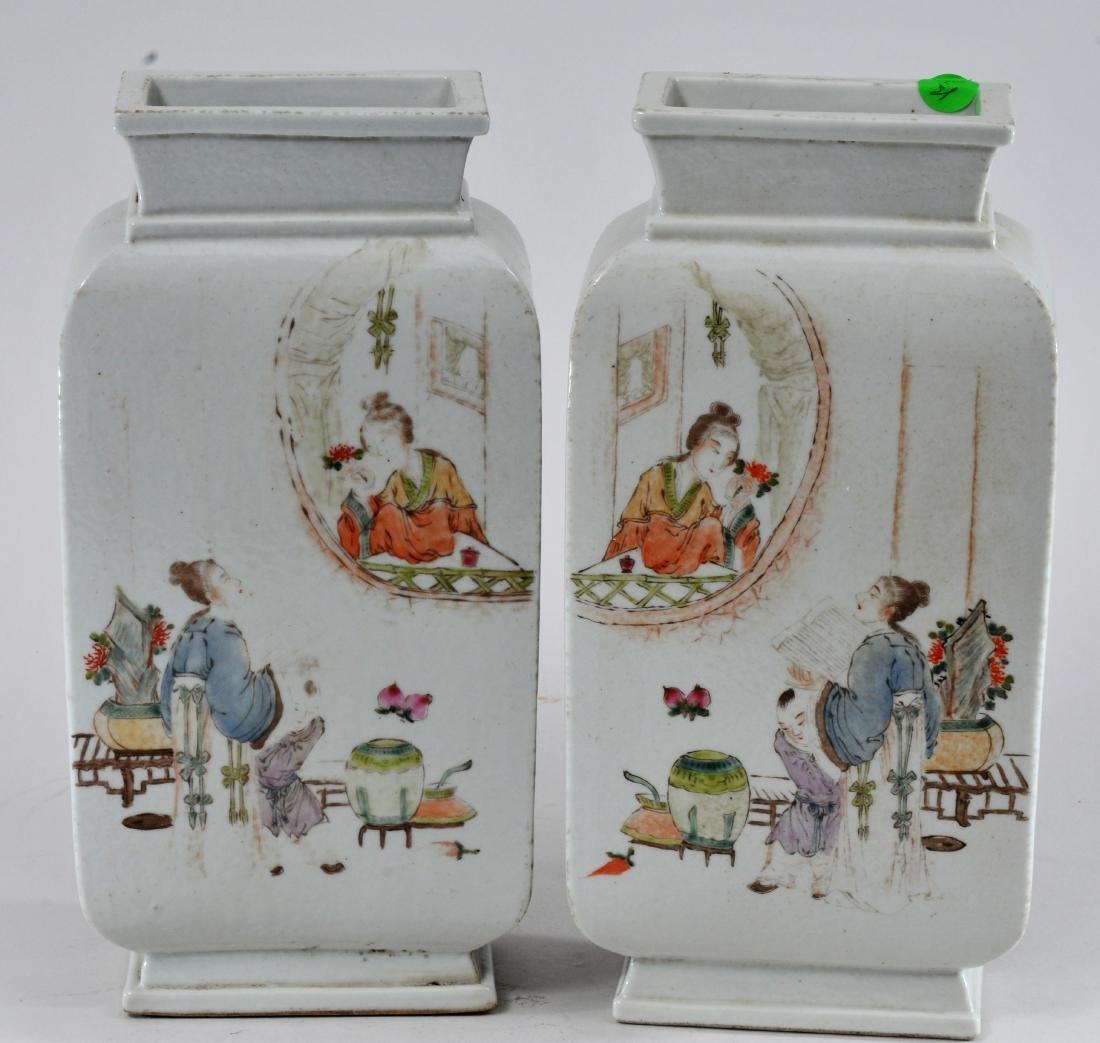 Pair of porcelain vases. China. Republic Period. - 6