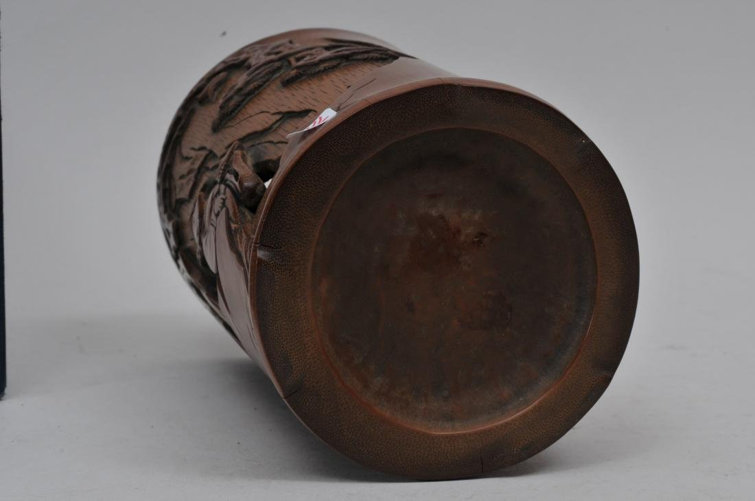 Bamboo brush pot. China. 18th century. Carved and - 10