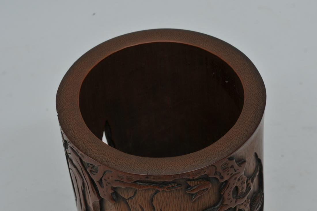 Bamboo brush pot. China. 18th century. Carved and - 7