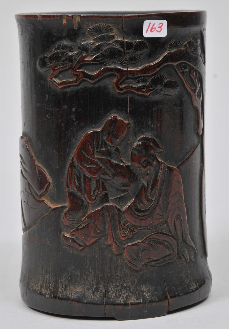 Bamboo brush pot. China. 18th century. Carving of the