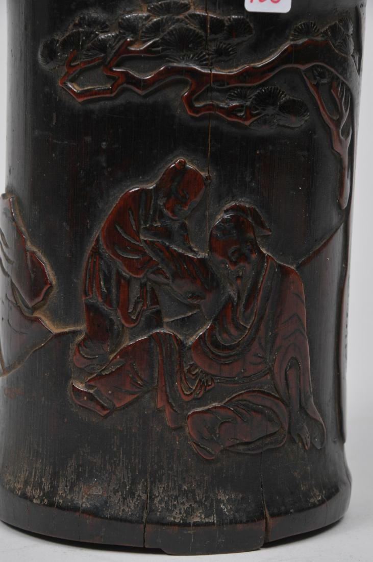 Bamboo brush pot. China. 18th century. Carving of the - 2